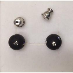 BOUCLES D'OREILLES CLOUS JET 8mm STRASS BLACK DIAMOND
