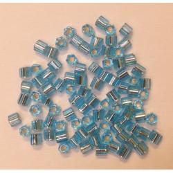 HEXAGONE AQUAMARINE ARGENT BRILLANT 8/0 5 grammes