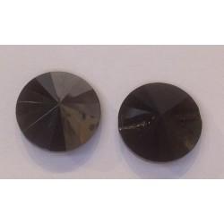 BOUTON ROND SWAROVSKI JET HEMATITE 12mm/5 pièces
