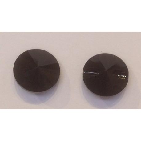 BOUTON ROND SWAROVSKI JET 12mm/5 pièces